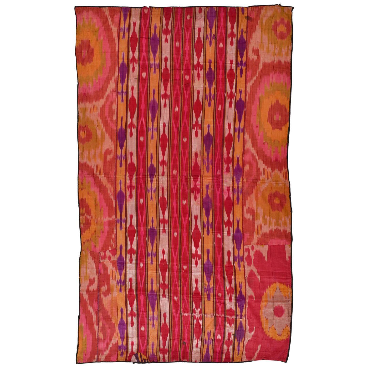 Antique Silk Bokara Ikat Textile