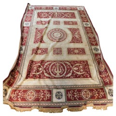 Antique Silk Carpet Red Beige, Neoclassical, 1800, Europe