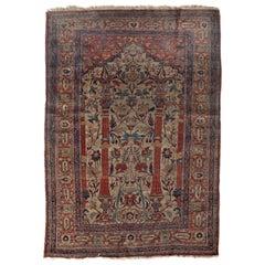 Antique Silk Heriz Rug, circa 1880