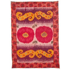 Antique Silk Ikat Panel, Early 20th Century