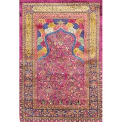 Antique Silk Kashan Prayer Rug