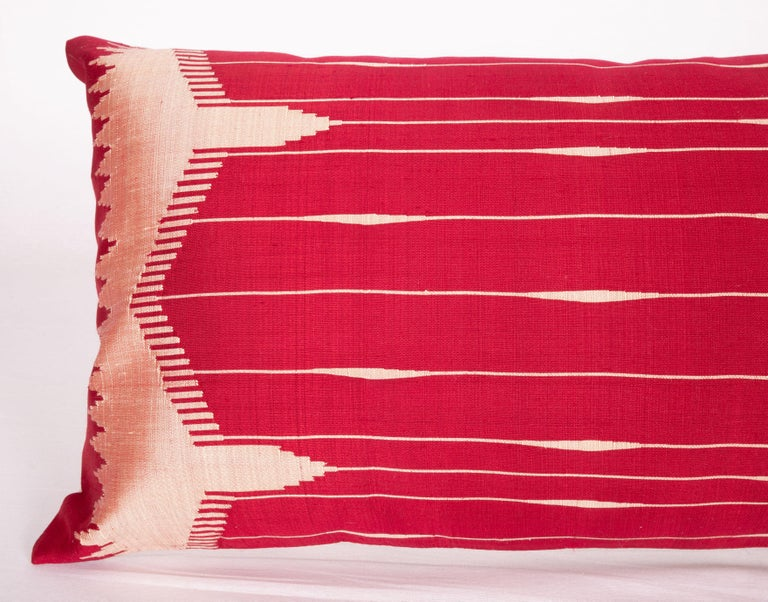 Islamic Antique Silk Lumbar Pillow Case Made from a Silk Syrian Textile, Early 20th C. For Sale