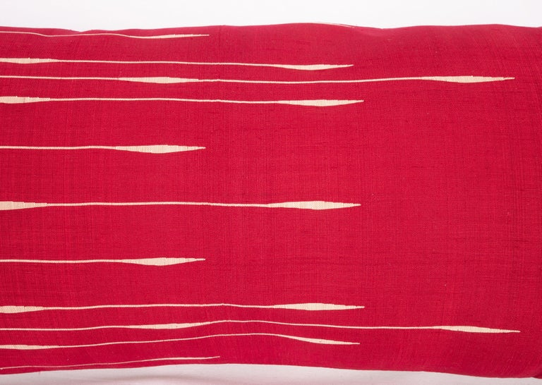 Hand-Woven Antique Silk Lumbar Pillow Case Made from a Silk Syrian Textile, Early 20th C. For Sale