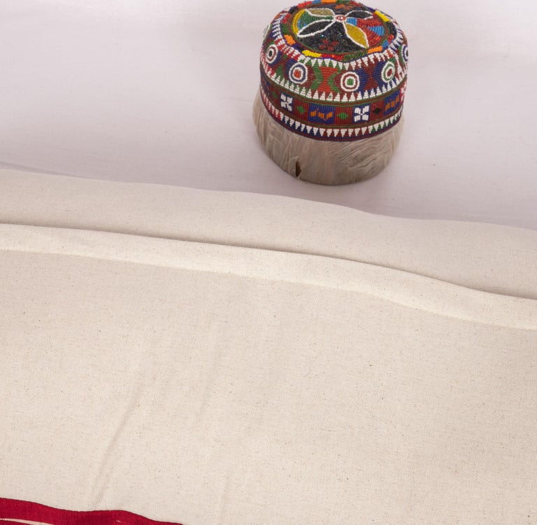 20th Century Antique Silk Lumbar Pillow Case Made from a Silk Syrian Textile, Early 20th C. For Sale