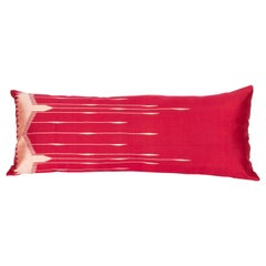 Antique Silk Lumbar Pillow Case Made from a Silk Syrian Textile, Early 20th C.