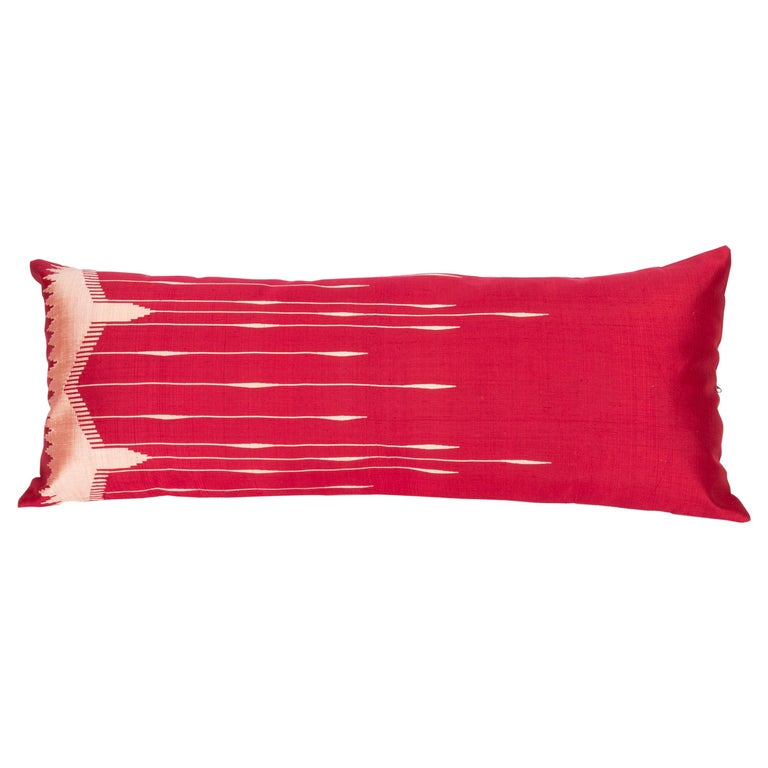 Antique Silk Lumbar Pillow Case Made from a Silk Syrian Textile, Early 20th C. For Sale