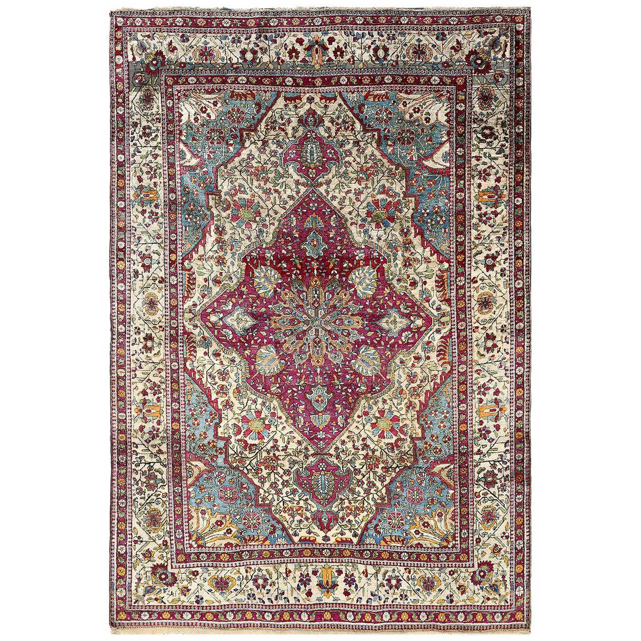 Antique Silk Mohtasham Kashan Persian Rug. Size: 4 ft 6 in x 6 ft 8 in