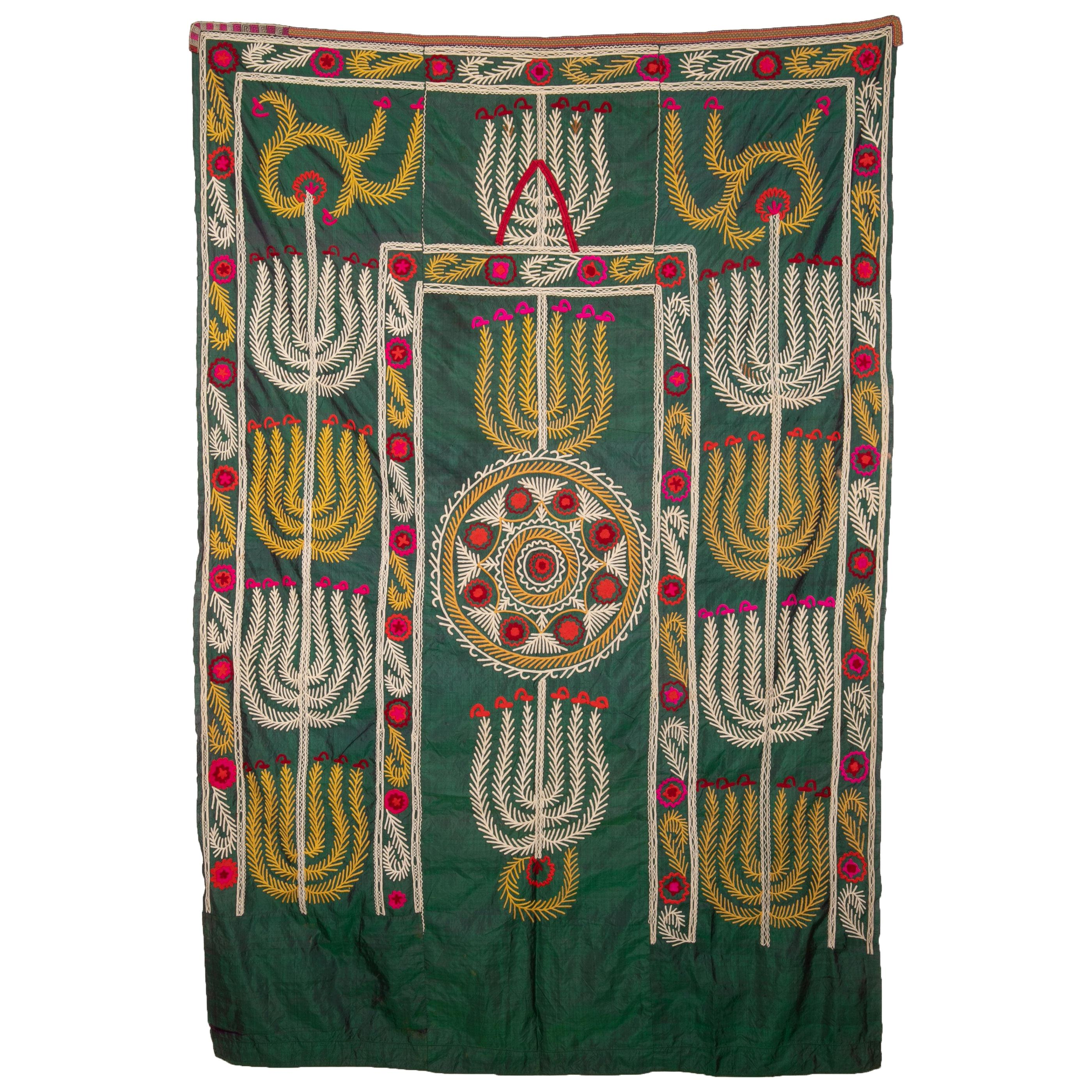 Antique Silk Suzani from Uzbekistan, Central Asia, 1900s