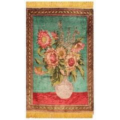 Antique Silk Tabriz Persian Rug