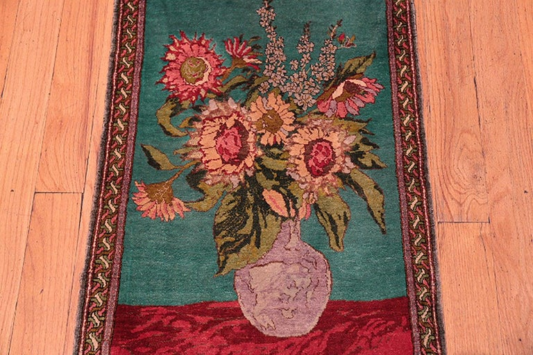 Hand-Woven Antique Silk Tabriz Persian Rug. Size: 1 ft 10 in X 2 ft 8 in (0.56 m x 0.81 m) For Sale