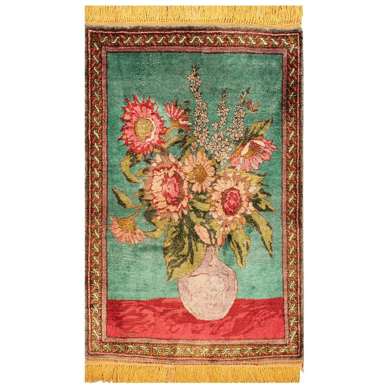 Antique Silk Tabriz Persian Rug. Size: 1 ft 10 in X 2 ft 8 in (0.56 m x 0.81 m) For Sale