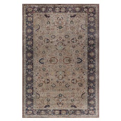 Antique Silk Tabriz Rug