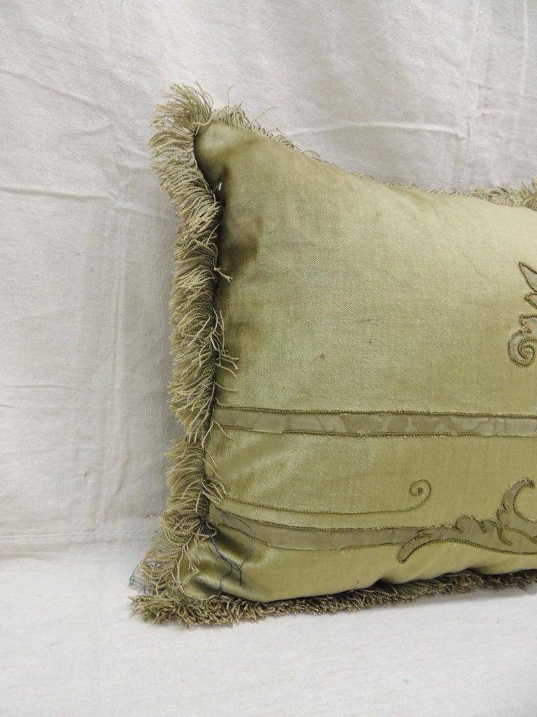 Regency Antique Silk Velvet Olive Green Applique Decorative Bolster Pillow For Sale
