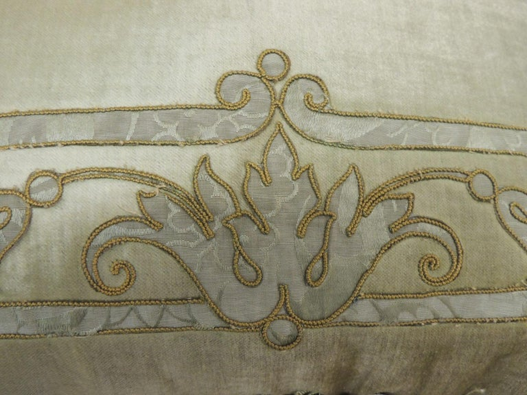 Regency Antique Silk Velvet Olive Green Applique Decorative Bolster Pillow