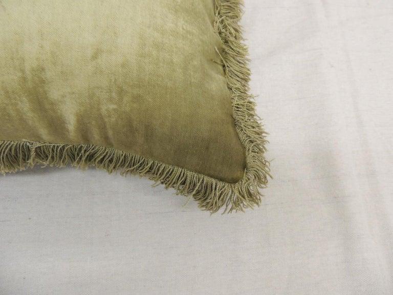 French Antique Silk Velvet Olive Green Applique Decorative Bolster Pillow For Sale