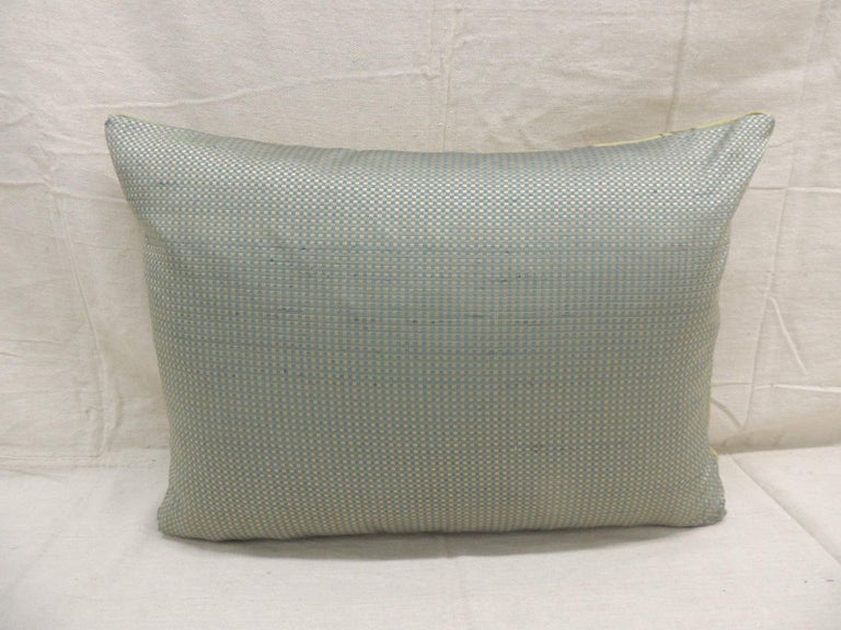 French Antique Silk Velvet Olive Green Applique Decorative Bolster Pillow