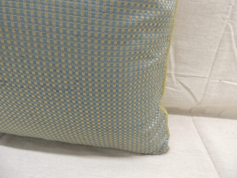 Hand-Crafted Antique Silk Velvet Olive Green Applique Decorative Bolster Pillow For Sale
