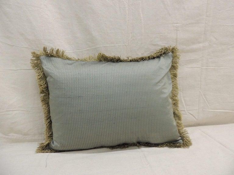 Antique Silk Velvet Olive Green Applique Decorative Bolster Pillow In Good Condition For Sale In Oakland Park, FL
