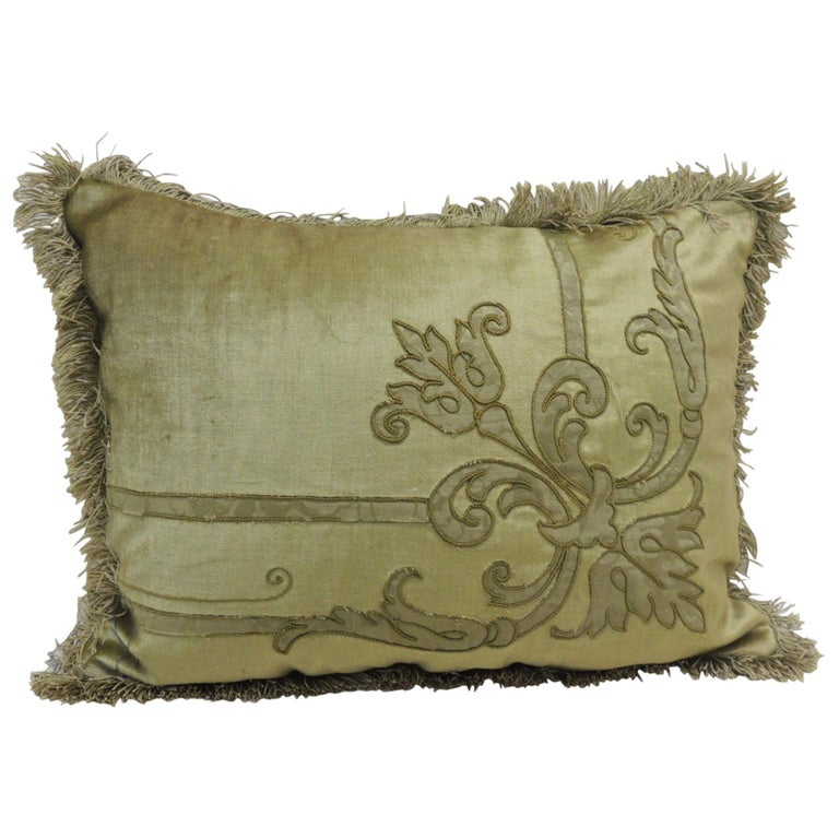 Antique appliquéd silk-velvet decorative pillow, 18th century