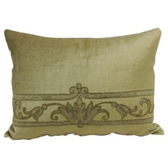 Antique Silk Velvet Olive Green Applique Decorative Bolster Pillow