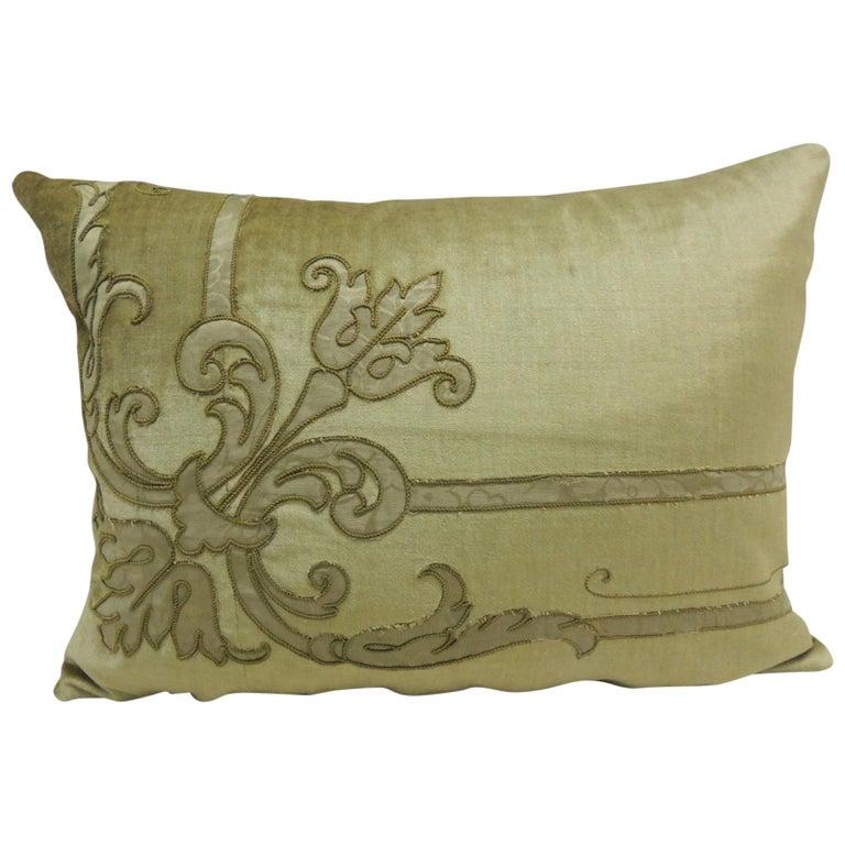 Antique Silk Velvet Olive Green Applique Decorative Bolster Pillow For Sale
