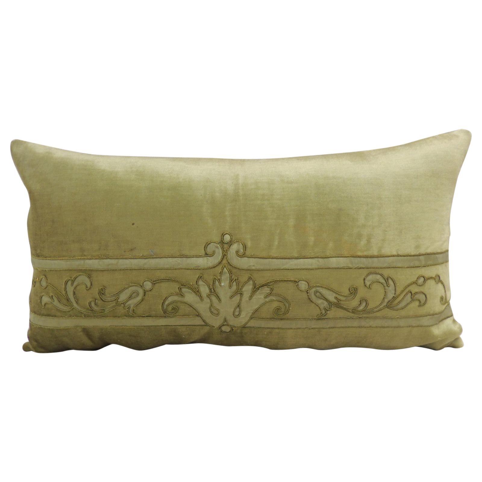 Antique Silk Velvet Olive Green Applique Decorative Long Bolster Pillow