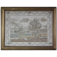 Antique Silkwork Coastal Scene Embroidery