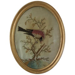 Antique Silkwork Embroidery of a Bird in a Tree