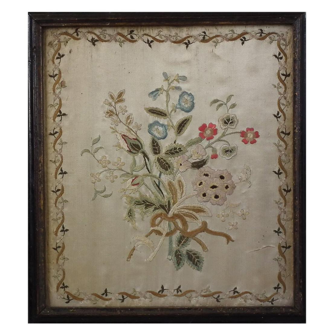 Antique Silkwork Flower Bouquet Embroidery