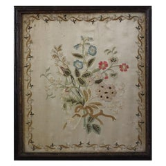 Antique Silkwork Flower Bouquet Embroidery