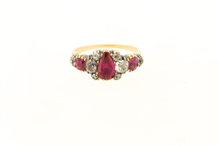 Old Mine Cut Antique Silver 18 Karat Gold Late Georgian Ruby and Diamond Ring
