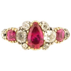 Antique Silver 18 Karat Gold Late Georgian Ruby and Diamond Ring