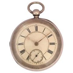 Antique Silver American Watch Co. Waltham Mass Key-Winding Pocket Watch