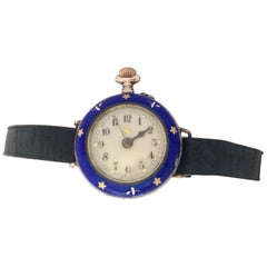 Antique Silver and Blue Enamel Hand Winding Ladies Fob / Trench Watch