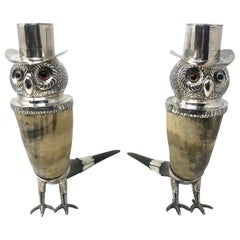 Antique Silver and Bovine Horn Figural Owl Candlesticks, circa 1900-1920