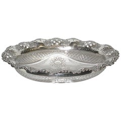 Antique Silver and Cut Glass Fruit Bowl, Dated 1896, Birmingham
