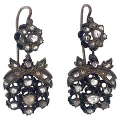 Antique Silver and Diamond Earrings