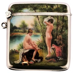 Antique Silver and Enamel Vesta Case / Match Holder 1902 Import Mark Erotic/Nude