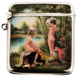 Antique Silver and Enamel Vesta Case / Match Holder 1902 Import Mark Erotic/Nude