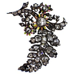 Antique Silver and Gold Diamond Enamel Brooch