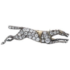 Antique Silver and Gold Diamond Race Horse Pin