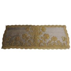 Antique Silver and Gold Embroidered Stumped-Work Textured Finish Textile