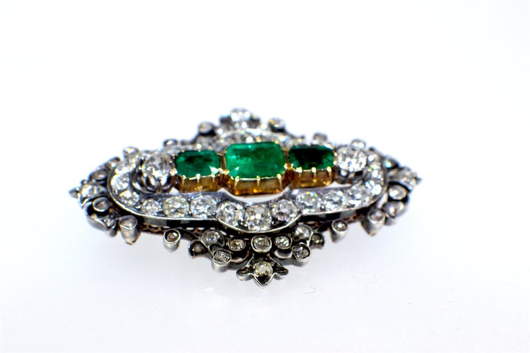 Victorian GEMOLITHOS Antique Silver and Gold Green Emerald and Diamond Brooch For Sale