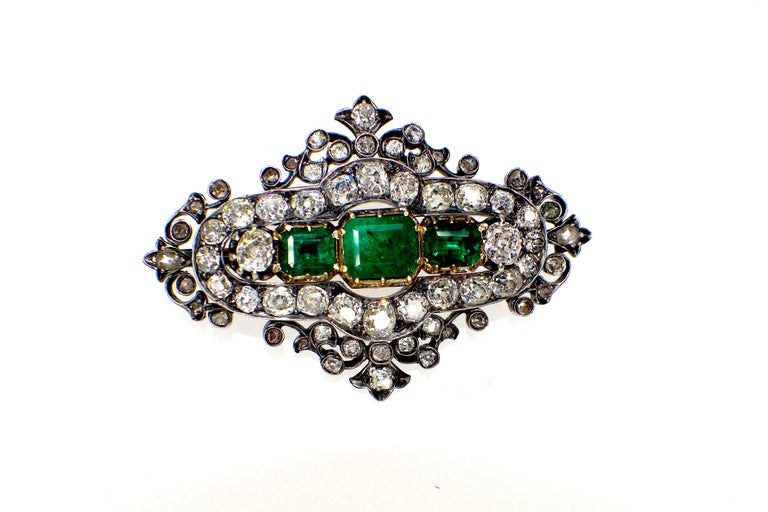 Old European Cut GEMOLITHOS Antique Silver and Gold Green Emerald and Diamond Brooch For Sale