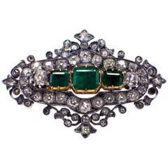 Antique Silver and Gold Green Emerald and Diamond Brooch
