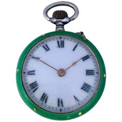 Antique Silver and Green Enamel Hand Winding Fob / Pocket Watch