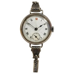 Antique Silver and Niello Trench Watch