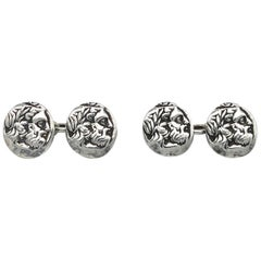 Antique Silver Antiquity Coin Cufflinks Dignitary Laurel Wreath