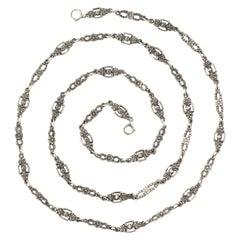 Antique Silver Art Nouveau Floral Chain