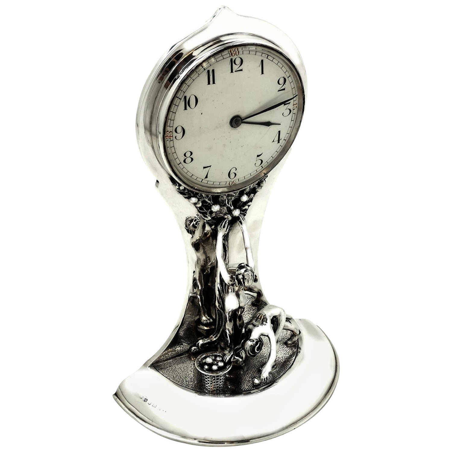 Antique Silver Art Nouveau Table Clock 1913 Tree of Life Design